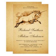 Vintage Mythical Unicorn Wedding Invitation