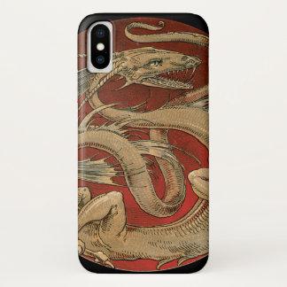 Vintage Mythology, Antique Golden Asian Dragon iPhone X Case