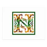 Vintage N inicial - monograma N Postales
