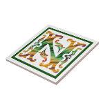 Vintage N inicial - monograma N Tejas Ceramicas