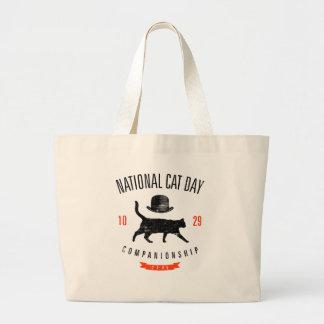 Vintage nacional del día 10.29.2005 del gato bolsa tela grande