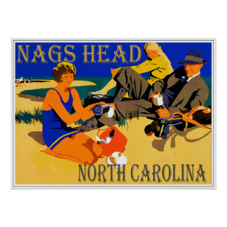 Vintage Nags Head Beach Scene Poster