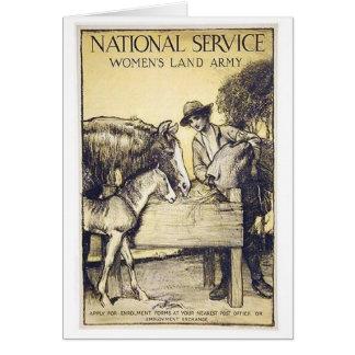 Vintage Naitonal Service Women's Land Army Recruit Greeting Card