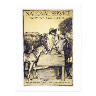 Vintage Naitonal Service Women's Land Army Recruit Postcard