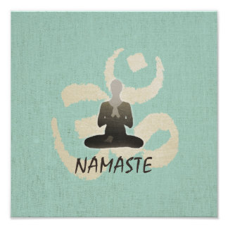 Vintage Namaste Gold Om Sign Green Linen Yoga