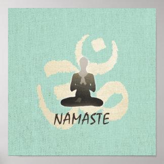 Vintage Namaste Gold Om Sign Green Linen Yoga Poster