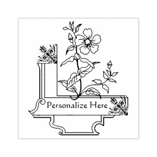 Vintage Name Plate Personalized for Coloring Rubber Stamp