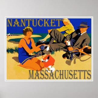 Vintage Nantucket Beach Scene Poster