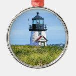Vintage Nantucket del faro del punto de Barnacla Adorno Redondo Plateado