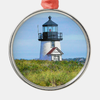 Vintage Nantucket del faro del punto de Barnacla Adorno De Navidad