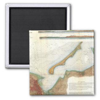Vintage Nantucket Harbor Map 2 Inch Square Magnet