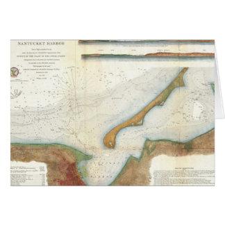 Vintage Nantucket Harbor Map Greeting Card