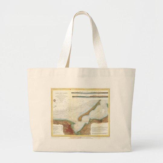 Vintage Nantucket Harbor Map Large Tote Bag