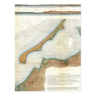 Vintage Nantucket Harbor Map Postcard
