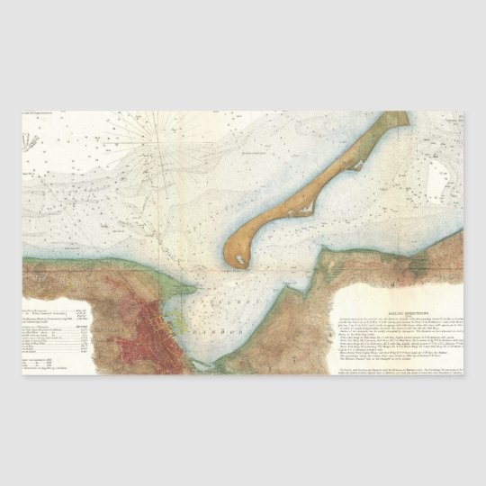 Vintage Nantucket Harbor Map Rectangular Sticker