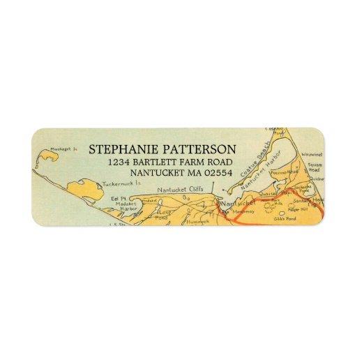 Vintage Nantucket Map Address Labels