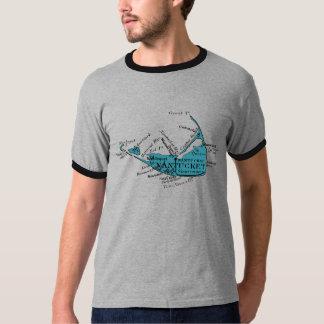 Vintage Nantucket Map, black and blue T-Shirt
