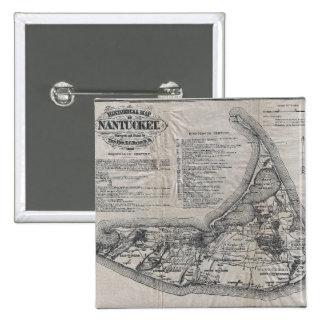 Vintage Nantucket Map Pinback Button