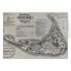 Vintage Nantucket Map Card