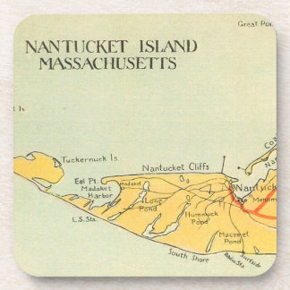 Vintage Nantucket Map Coaster