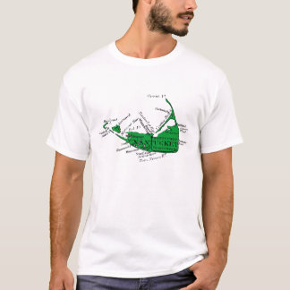 Vintage Nantucket Map, green and black T-Shirt