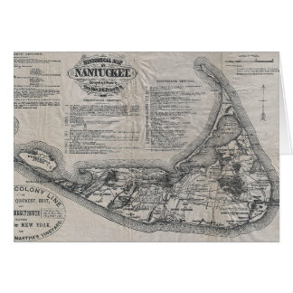 Vintage Nantucket Map Greeting Card