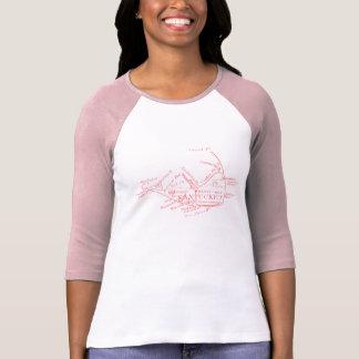 Vintage Nantucket Map, pink T-Shirt