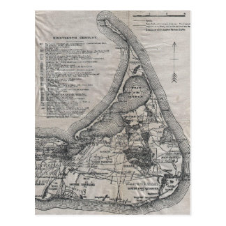 Vintage Nantucket Map Postcard