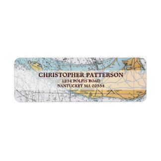Vintage Nantucket Navigation Chart Address Labels