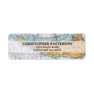 Vintage Nantucket Navigation Chart Address Labels