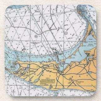 Vintage Nantucket Navigation Chart Map Coaster
