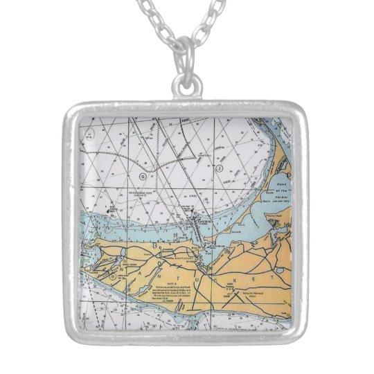 Vintage Nantucket Navigation Chart Map Necklace