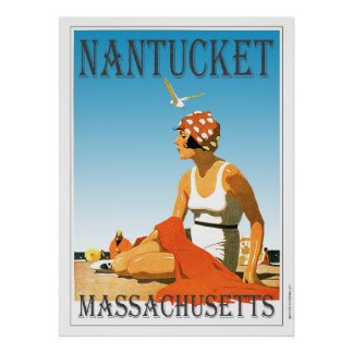 Vintage Nantucket on The Beach Poster