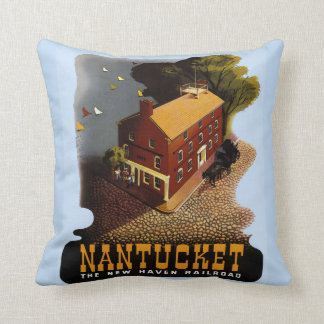 Vintage Nantucket Rail Travel Poster Throw Pillow