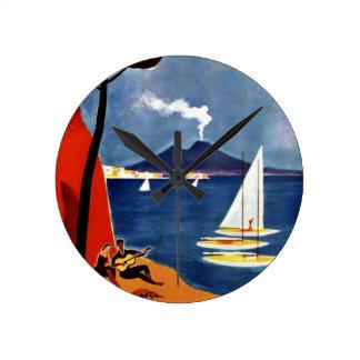 Vintage Napoli Travel Love Romance Round Clock