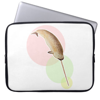 Vintage Narwhal In Colorful Circles Laptop Sleeve
