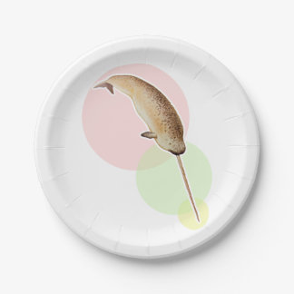 Vintage Narwhal In Colorful Circles Paper Plate