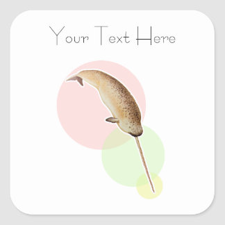 Vintage Narwhal In Colorful Circles Square Stickers