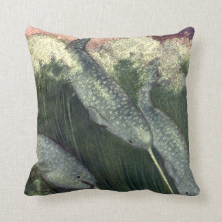 Vintage Narwhals Whales, Marine Life Ocean Animals Throw Pillow