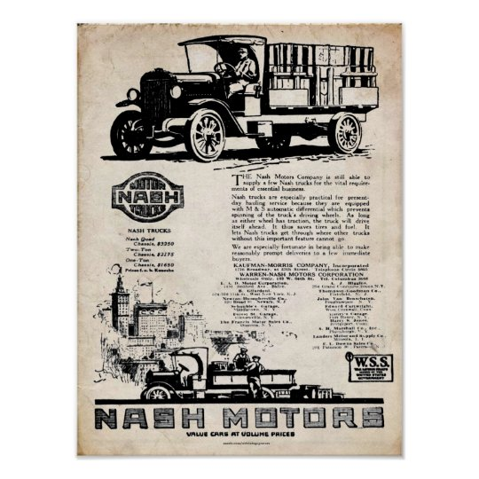 Vintage Nash Motors Truck Print
