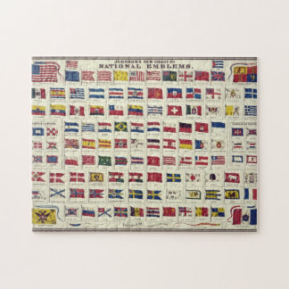 Vintage National Flags Chart - created 1863 Jigsaw Puzzle