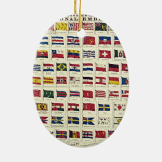 Vintage National Flags Chart - created 1863 Christmas Tree Ornament