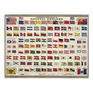Vintage National Flags Chart - created 1863 Postcard