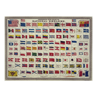 Vintage National Flags Chart - created 1863 Poster