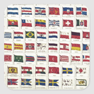 Vintage National Flags Chart - created 1863 Square Stickers