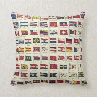 Vintage National Flags Chart - created 1863 Throw Pillow