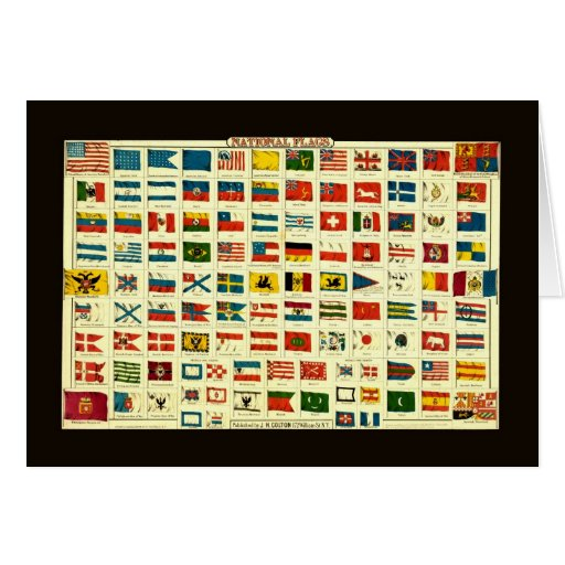 Vintage National Flags of The World Card