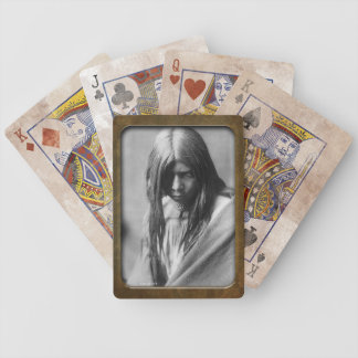 Vintage Native American Apache Girl Playing Ca Bicycle Playing Cards
