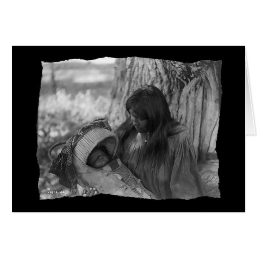 Vintage Native American Apache Woman Greeting Card