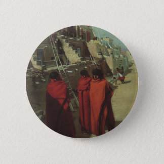 Vintage Native American, Hopi Pueblo by Louis Akin Pinback Button